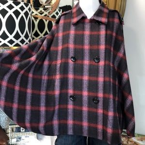 Kate Landry Wool Lined Red & Purple Plaid Cape OS